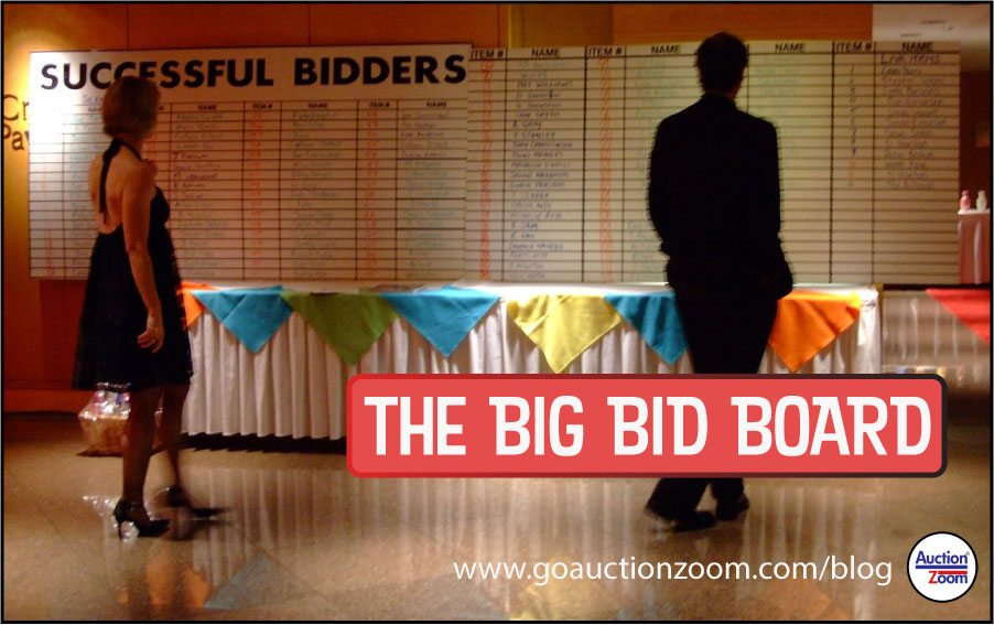 AuctionZoom AuctionInsights - Notify winning bidders with big bid board example