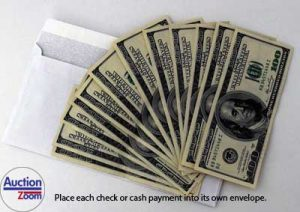 Envelopes for check and cash at auction checkout saves time.
