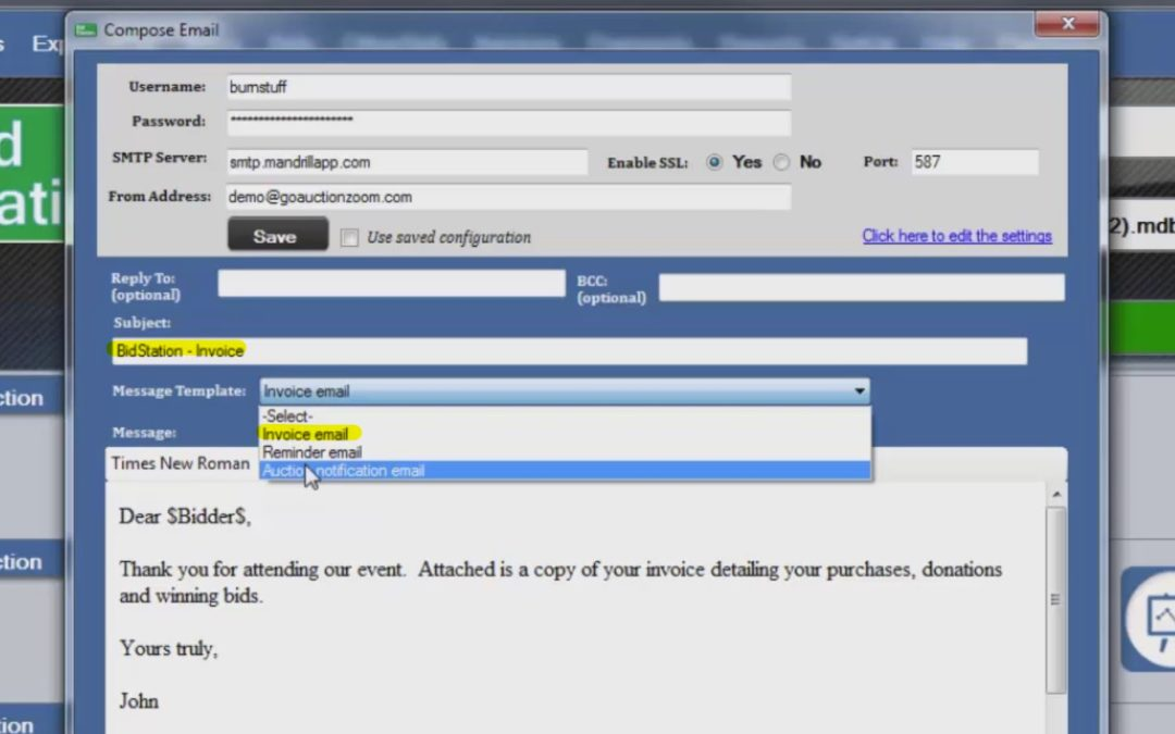 How to Email Bidder Auction Invoices with BidStation (Video)